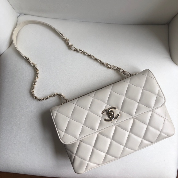 5d9c6a822929 CHANEL Bags | White Lambskin Flap Bag Gold Tone Metal | Poshmark